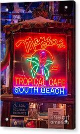 Leaning On Mango's South Beach Miami Acrylic Print by Ian Monk