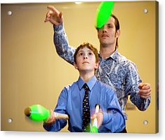 Learning To Juggle Acrylic Print by Jim West