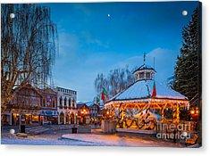 Leavenworth Christmas Moon Acrylic Print by Inge Johnsson