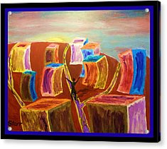 Leaving The Stress Of The City With A  Border Acrylic Print by Irving Starr