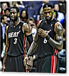 Lebron James And Dwyane Wade Acrylic Print by Florian Rodarte