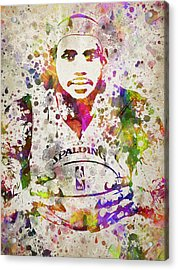 Lebron James In Color Acrylic Print by Aged Pixel