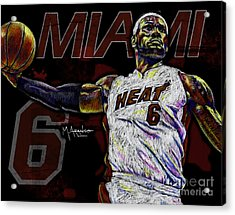 Lebron James Acrylic Print by Maria Arango