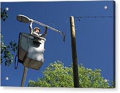 Led Street Light Installation Acrylic Print by Jim West