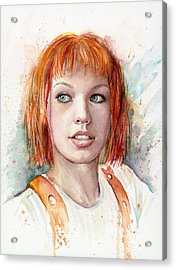 Leeloo Portrait Multipass The Fifth Element Acrylic Print by Olga Shvartsur