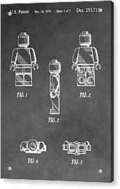 Lego Minifig Patent Acrylic Print by Dan Sproul