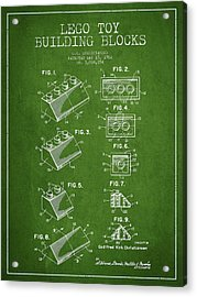 Lego Toy Building Blocks Patent - Green Acrylic Print by Aged Pixel