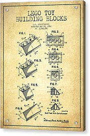Lego Toy Building Blocks Patent - Vintage Acrylic Print by Aged Pixel
