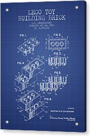 Lego Toy Building Brick Patent From 1961 - Blueprint Acrylic Print by Aged Pixel