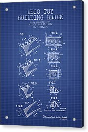 Lego Toy Building Brick Patent From 1962 - Blueprint Acrylic Print by Aged Pixel