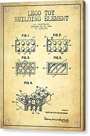 Lego Toy Building Element Patent - Vintage Acrylic Print by Aged Pixel