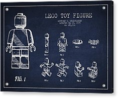 Lego Toy Figure Patent Drawing Acrylic Print by Aged Pixel