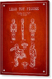 Lego Toy Figure Patent - Red Acrylic Print by Aged Pixel