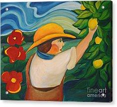 Lemon And Hibiscus Acrylic Print by Teresa Hutto