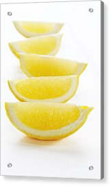 Lemon Wedges On White Background Acrylic Print by Colin and Linda McKie