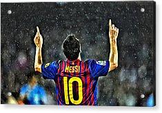 Leo Messi Poster Art Acrylic Print by Florian Rodarte