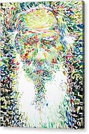 Leo Tolstoy Watercolor Portrait.1 Acrylic Print by Fabrizio Cassetta