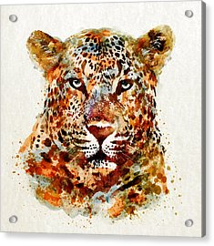 Leopard Head Watercolor Acrylic Print by Marian Voicu