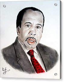 Leslie David Baker As Stanley Hudson On The Office  Acrylic Print by Jim Fitzpatrick