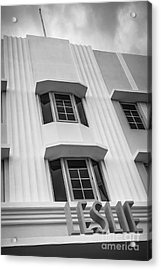 Leslie Hotel South Beach Miami Art Deco Detail 2 - Black And White Acrylic Print by Ian Monk