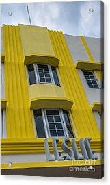 Leslie Hotel South Beach Miami Art Deco Detail 2 Acrylic Print by Ian Monk