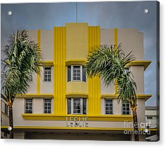 Leslie Hotel South Beach Miami Art Deco Detail 3 - Hdr Style Acrylic Print by Ian Monk