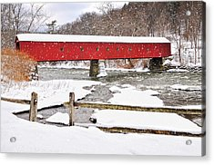 Connecticut Covered Bridge Snow Scene By Thomasschoeller.photography  Acrylic Print by Thomas Schoeller