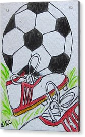 Let's Play Soccer Acrylic Print by Kathy Marrs Chandler