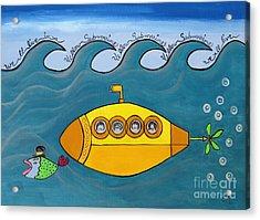 Lets Sing The Chorus Now - The Beatles Yellow Submarine Acrylic Print by Ella Kaye Dickey