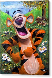 Let's You And Me Bounce - Tigger Acrylic Print by Andrew Fling