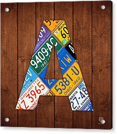 Letter A Alphabet Vintage License Plate Art Acrylic Print by Design Turnpike