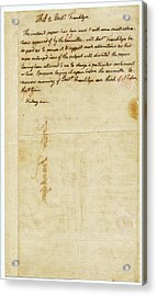 Letter From Jefferson To Franklin Acrylic Print by American Philosophical Society