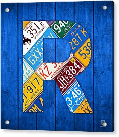 Letter R Alphabet Vintage License Plate Art Acrylic Print by Design Turnpike