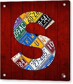 Letter S Alphabet Vintage License Plate Art Acrylic Print by Design Turnpike