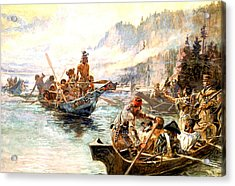 Lewis And Clark On The Lower Columbia  Acrylic Print by Charles Russell
