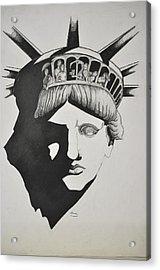 Liberty Head With People Acrylic Print by Glenn Calloway