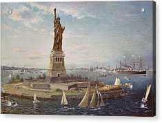 Liberty Island New York Harbor Acrylic Print by Fred Pansing