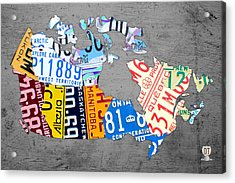 License Plate Map Of Canada On Gray Acrylic Print by Design Turnpike