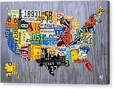 License Plate Map Of The United States - Muscle Car Era - On Silver Acrylic Print by Design Turnpike