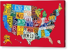 License Plate Map Of The United States On Bright Red Acrylic Print by Design Turnpike