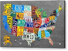 License Plate Map Of The United States On Gray Wood Boards Acrylic Print by Design Turnpike