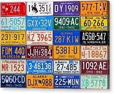 License Plates Of The Usa - Our Colorful American History Acrylic Print by Design Turnpike
