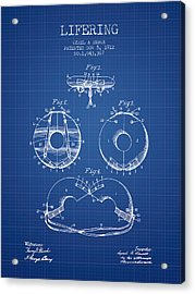 Life Ring Patent From 1912 - Blueprint Acrylic Print by Aged Pixel