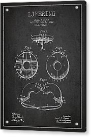 Life Ring Patent From 1912 - Charcoal Acrylic Print by Aged Pixel