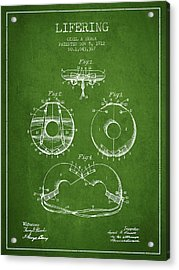 Life Ring Patent From 1912 - Green Acrylic Print by Aged Pixel