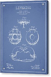 Life Ring Patent From 1912 - Light Blue Acrylic Print by Aged Pixel