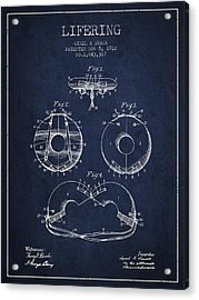 Life Ring Patent From 1912 - Navy Blue Acrylic Print by Aged Pixel