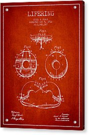 Life Ring Patent From 1912 - Red Acrylic Print by Aged Pixel