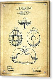 Life Ring Patent From 1912 - Vintage Acrylic Print by Aged Pixel