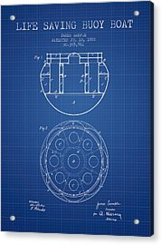 Life Saving Buoy Boat Patent From 1888 - Blueprint Acrylic Print by Aged Pixel